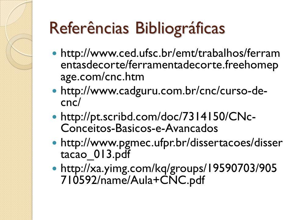 Referências Bibliográficas http://www.ced.ufsc.br/emt/trabalhos/ferram entasdecorte/ferramentadecorte.freehomep age.com/cnc.htm http://www.cadguru.com.br/cnc/curso-de- cnc/ http://pt.scribd.com/doc/7314150/CNc- Conceitos-Basicos-e-Avancados http://www.pgmec.ufpr.br/dissertacoes/disser tacao_013.pdf http://xa.yimg.com/kq/groups/19590703/905 710592/name/Aula+CNC.pdf