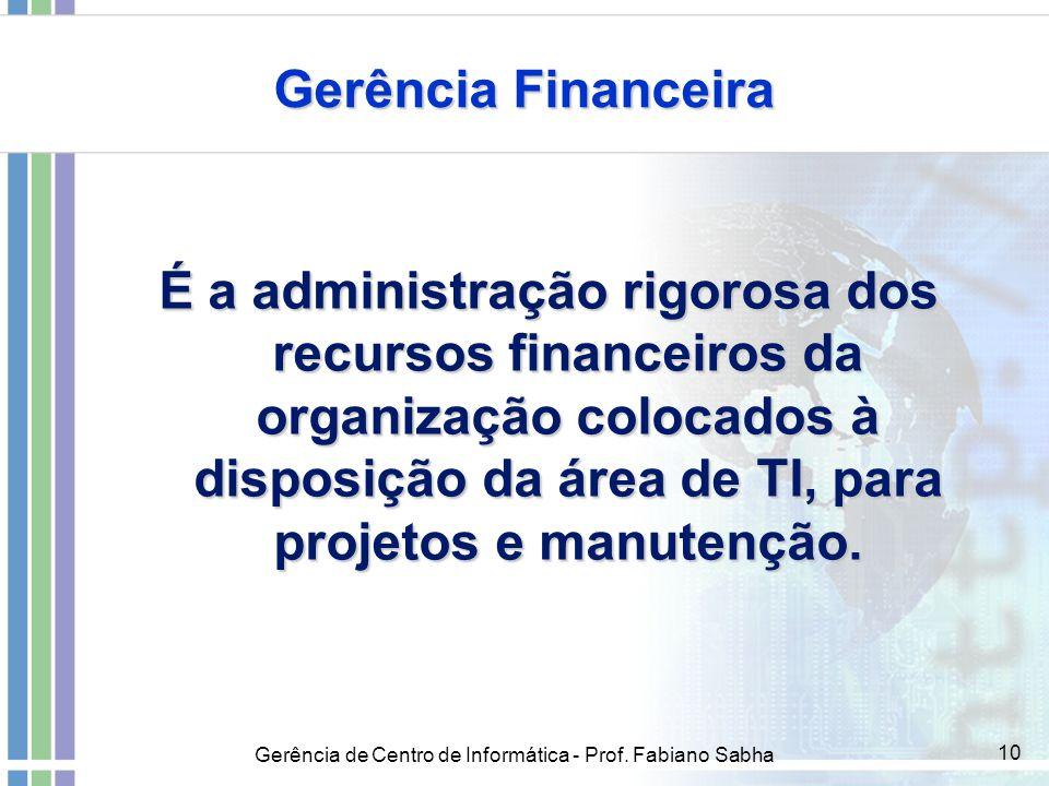 Gerência de Centro de Informática - Prof. Fabiano Sabha 10 Gerência Financeira É a administração rigorosa dos recursos financeiros da organização colo