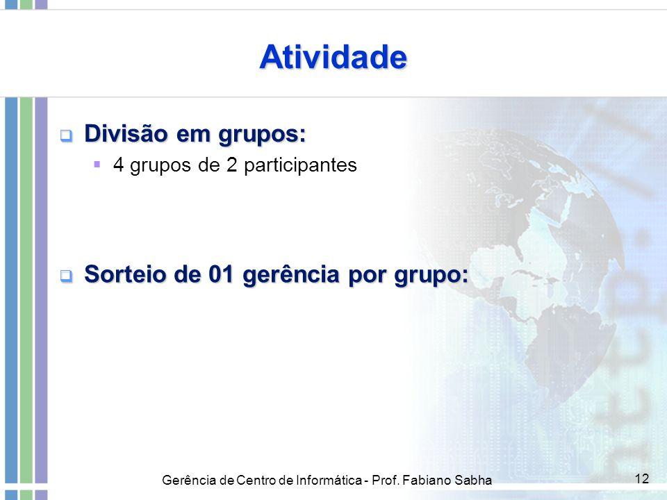 Gerência de Centro de Informática - Prof. Fabiano Sabha 12 Atividade  Divisão em grupos:  4 grupos de 2 participantes  Sorteio de 01 gerência por g