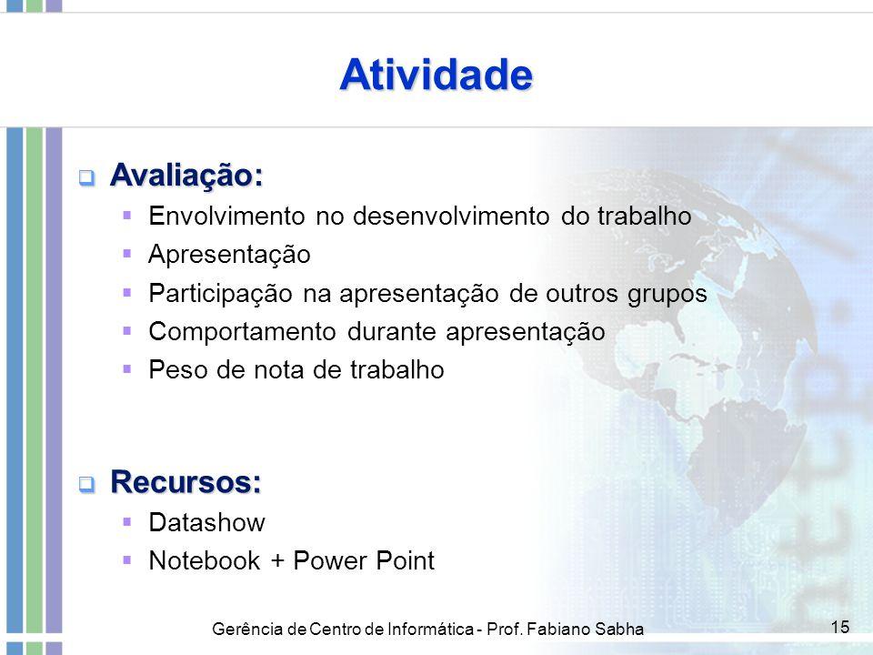 Gerência de Centro de Informática - Prof. Fabiano Sabha 15 Atividade  Avaliação:  Envolvimento no desenvolvimento do trabalho  Apresentação  Parti