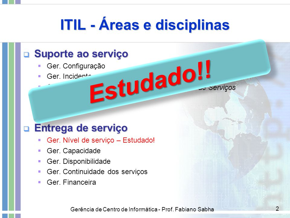 Gerência de Centro de Informática - Prof. Fabiano Sabha 2 ITIL - Áreas e disciplinas  Suporte ao serviço  Ger. Configuração  Ger. Incidente  Ger.