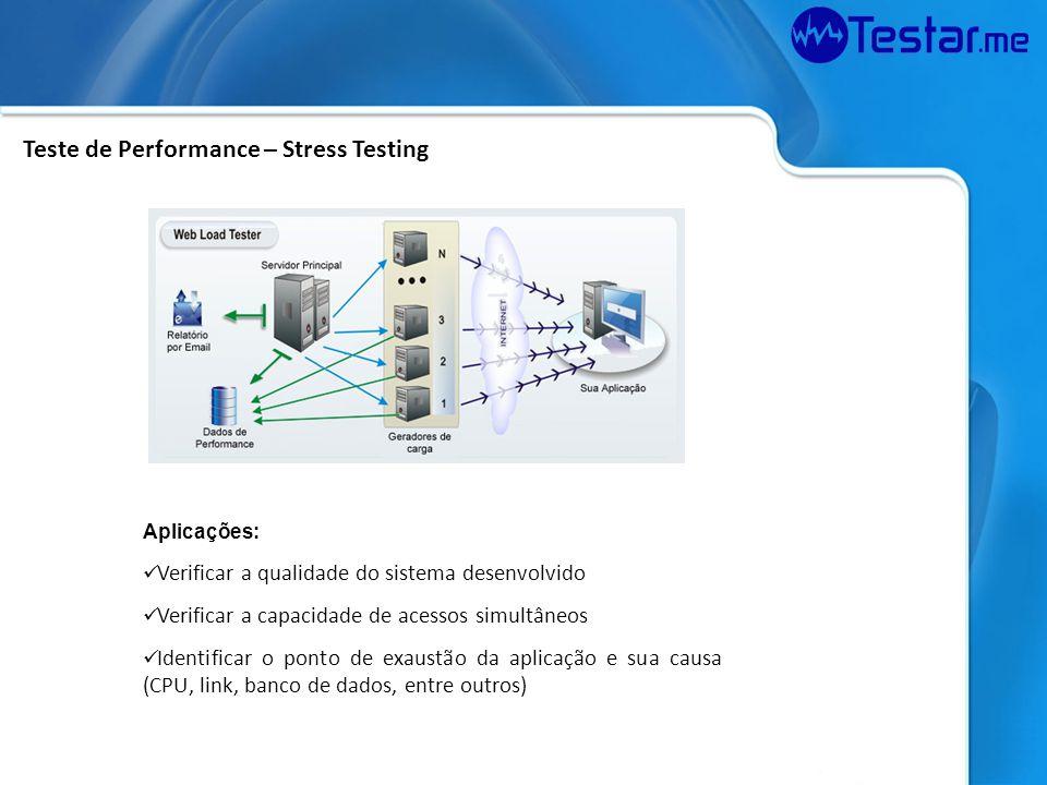Aplicações: Verificar a qualidade do sistema desenvolvido Verificar a capacidade de acessos simultâneos Identificar o ponto de exaustão da aplicação e