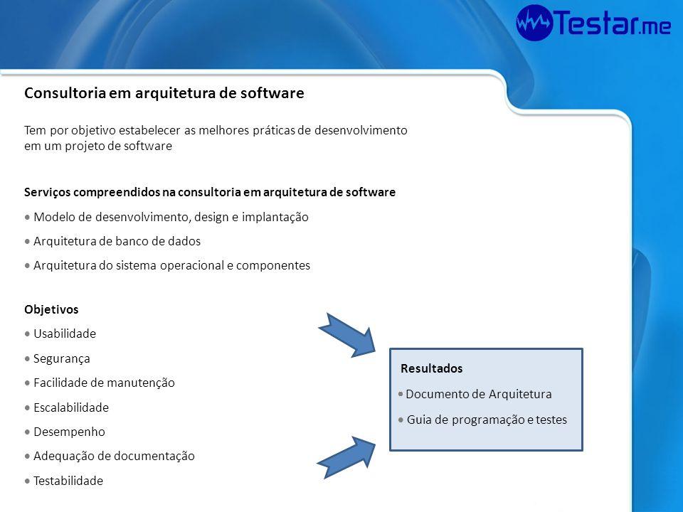 Consultoria em arquitetura de software Tem por objetivo estabelecer as melhores práticas de desenvolvimento em um projeto de software Serviços compree