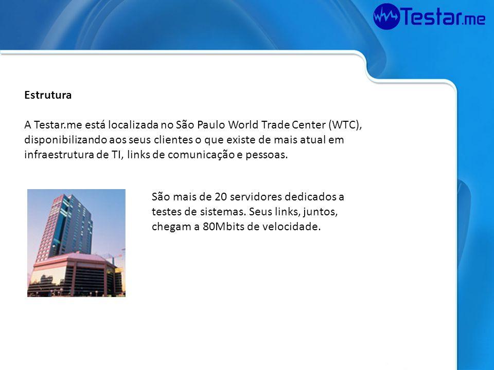 Estrutura A Testar.me está localizada no São Paulo World Trade Center (WTC), disponibilizando aos seus clientes o que existe de mais atual em infraest