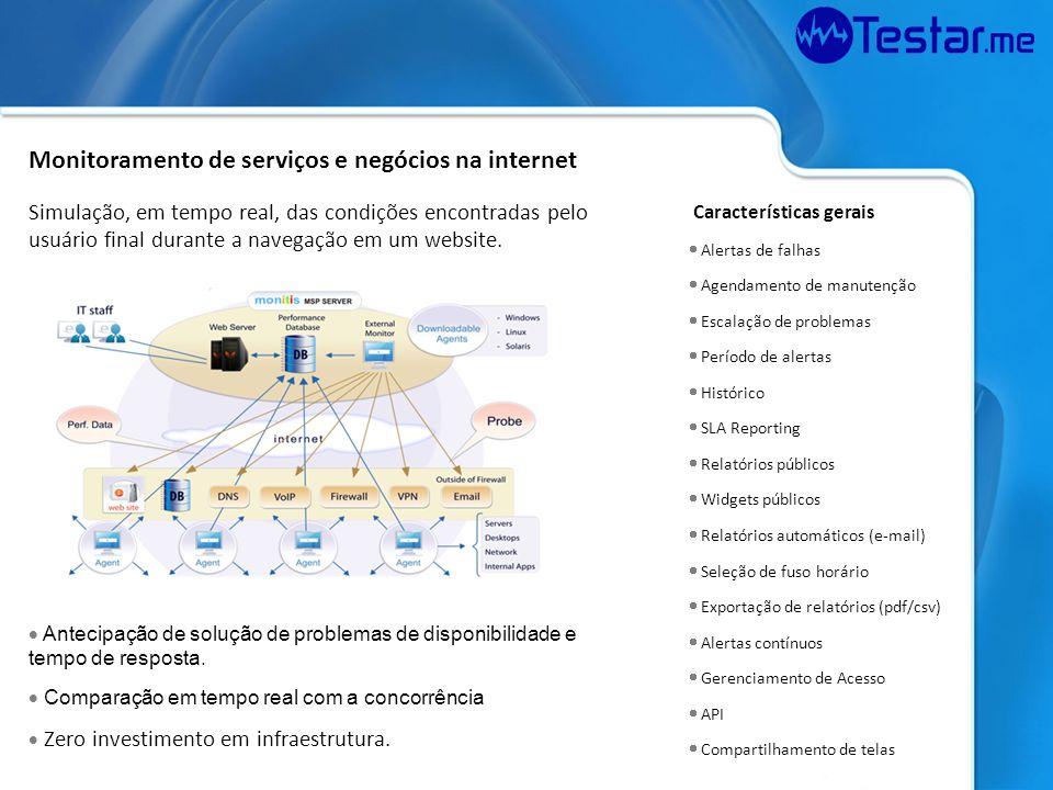 Monitoramento de serviços e negócios na internet Simulação, em tempo real, das condições encontradas pelo usuário final durante a navegação em um webs