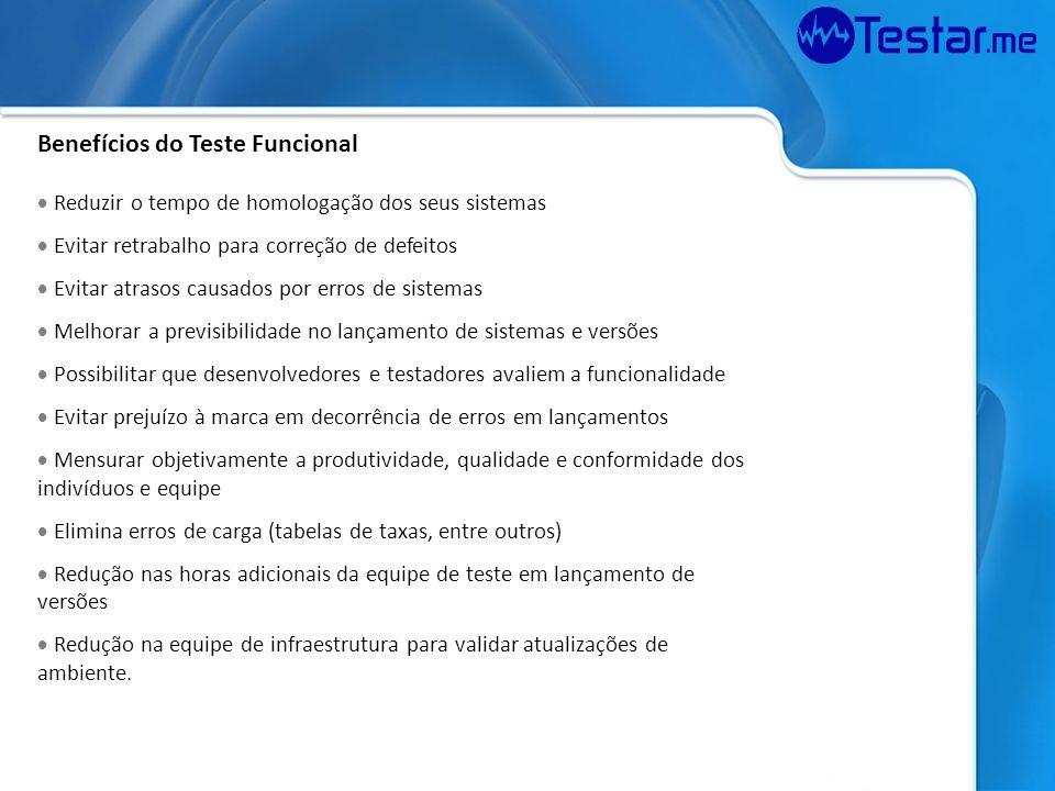 Aplicabilidade Testes funcionais e de regressão Homologação de sistemas Testes em produção após atualização de ambiente Compatibilidade Teste de aplicações web (HTTP / HTTPS / Webservice) Aplicações Windows / Windows Forms / Java