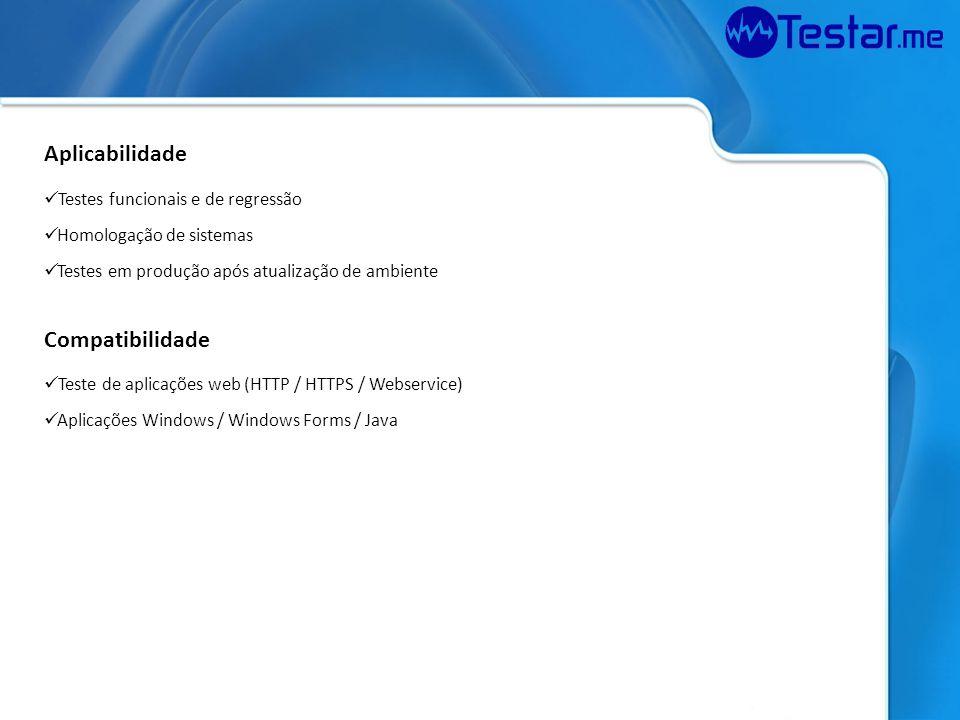 Verifica e compara resultados Emite Relatório Funcionamento Cliente Testar.me Aplicações WEB Aplicações Windows (Kits) WebService Gera grade de testes Submete ao Serviço de teste Realiza teste automático nas aplicações