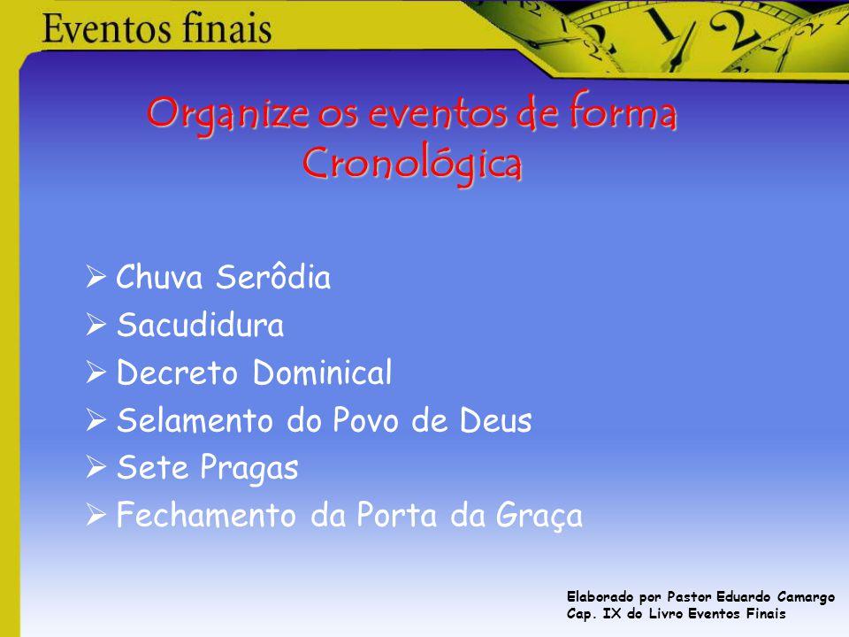 Organize os eventos de forma Cronológica  Chuva Serôdia  Sacudidura  Decreto Dominical  Selamento do Povo de Deus  Sete Pragas  Fechamento da Po