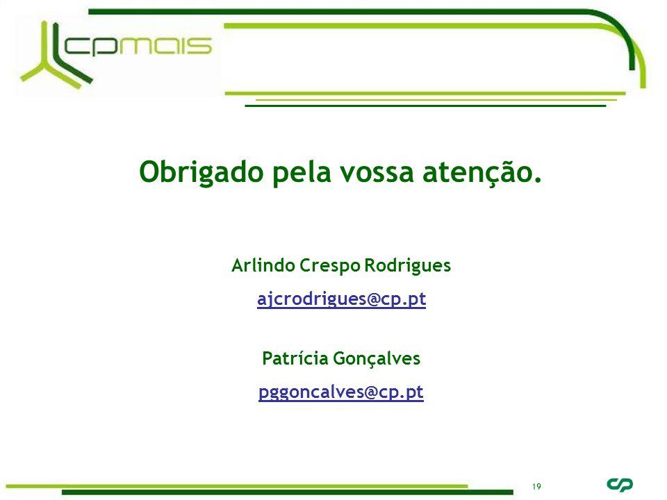 19 Obrigado pela vossa atenção. Arlindo Crespo Rodrigues ajcrodrigues@cp.pt Patrícia Gonçalves pggoncalves@cp.pt