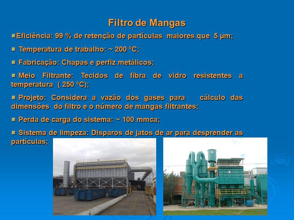Filtro de Mangas Eficiência: 99 % de retenção de partículas maiores que 5 µm; Temperatura de trabalho: ~ 200 ºC; Temperatura de trabalho: ~ 200 ºC; Fa