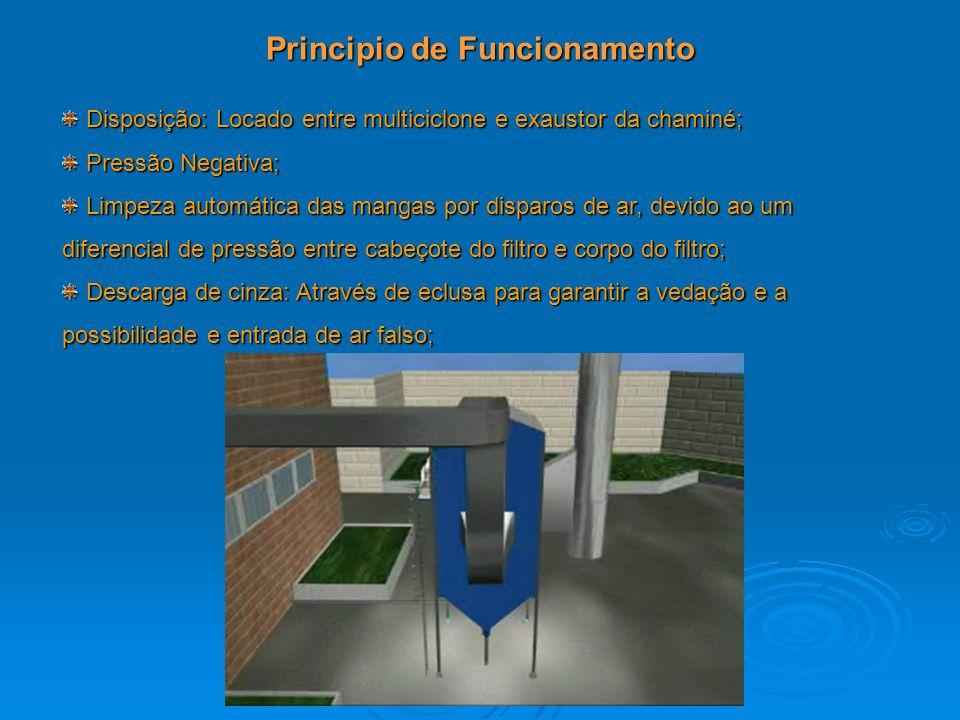 Principio de Funcionamento Disposição: Locado entre multiciclone e exaustor da chaminé; Disposição: Locado entre multiciclone e exaustor da chaminé; P