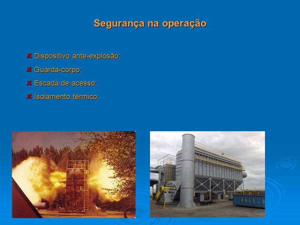 Segurança na operação Dispositivo ante-explosão; Dispositivo ante-explosão; Guarda-corpo; Guarda-corpo; Escada de acesso; Escada de acesso; Isolamento