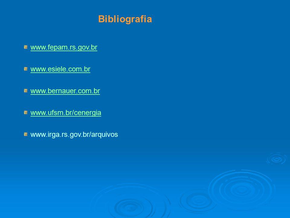 Bibliografia www.fepam.rs.gov.br www.esiele.com.br www.bernauer.com.br www.ufsm.br/cenergia www.irga.rs.gov.br/arquivos