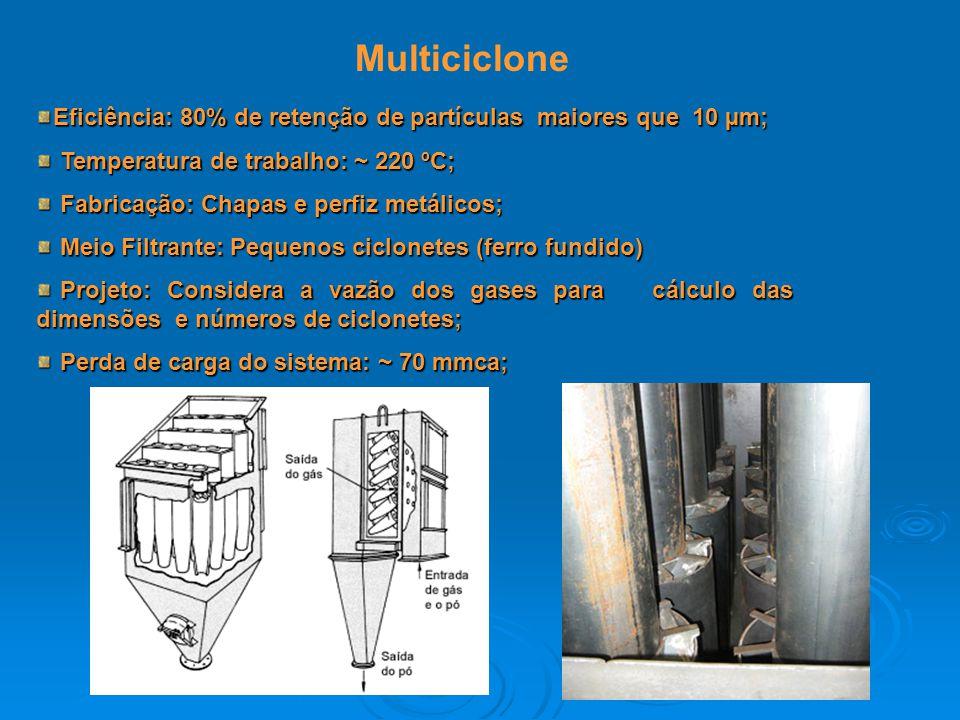 Multiciclone Eficiência: 80% de retenção de partículas maiores que 10 µm; Temperatura de trabalho: ~ 220 ºC; Temperatura de trabalho: ~ 220 ºC; Fabric