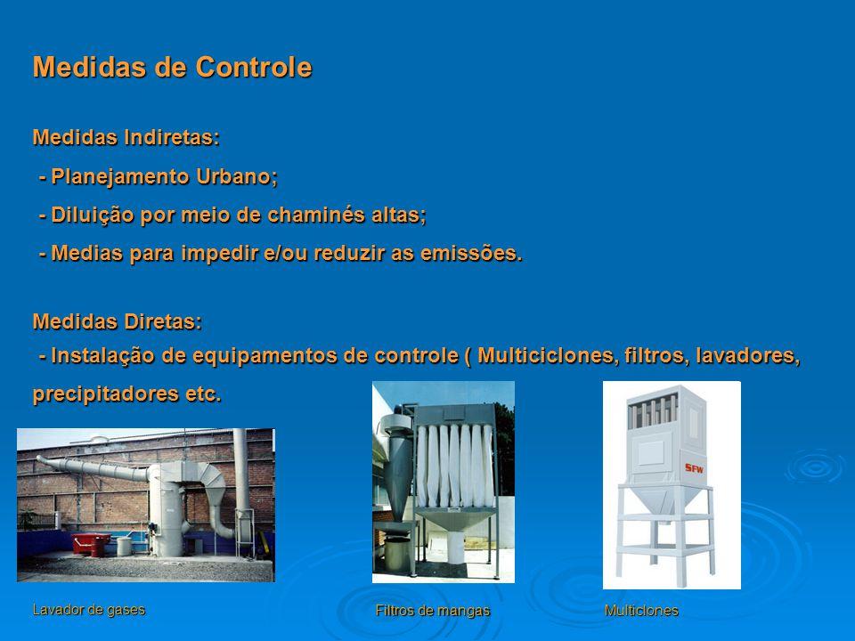 Medidas de Controle Medidas Indiretas: - Planejamento Urbano; - Planejamento Urbano; - Diluição por meio de chaminés altas; - Diluição por meio de cha