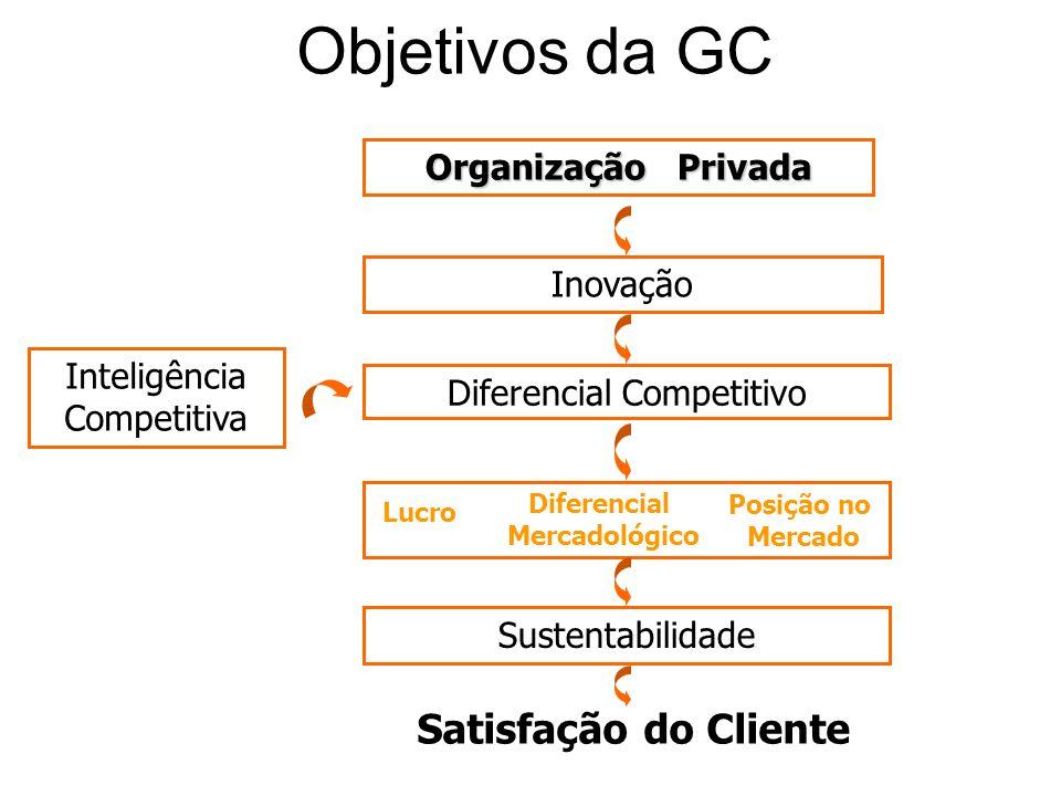 Objetivos da GC Organização Privada Inovação Diferencial Competitivo Lucro Posição no Mercado Satisfação do Cliente Sustentabilidade Inteligência Comp