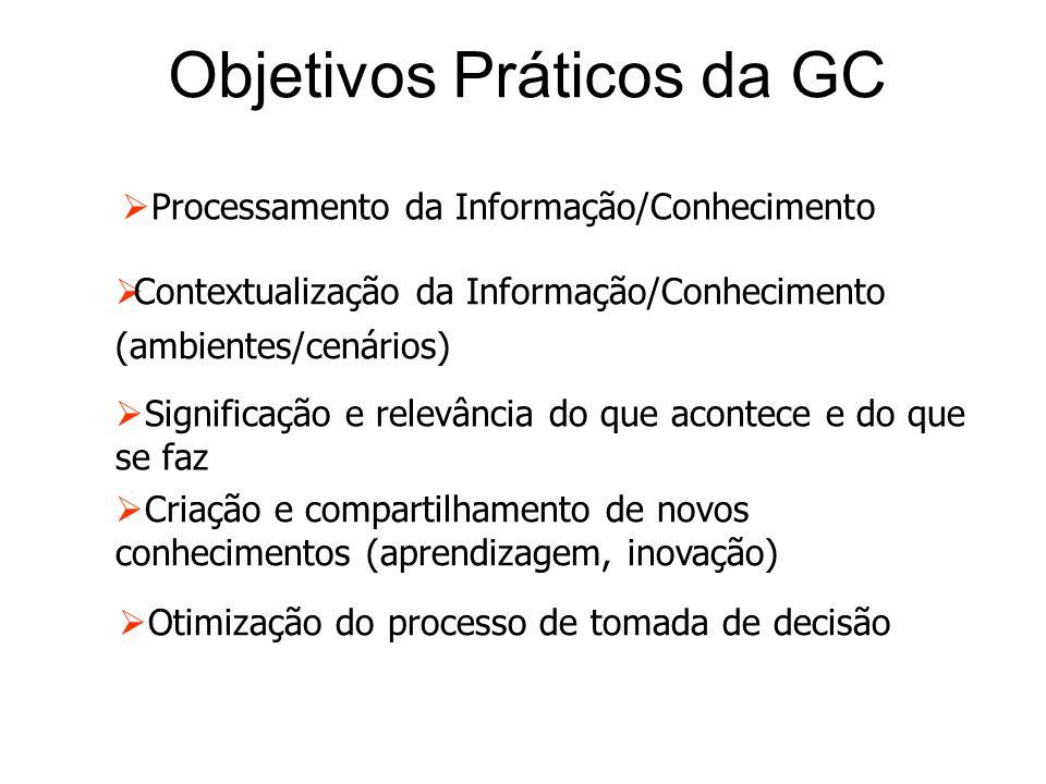 Objetivos Práticos da GC  Processamento da Informação/Conhecimento  Contextualização da Informação/Conhecimento (ambientes/cenários)  Significação