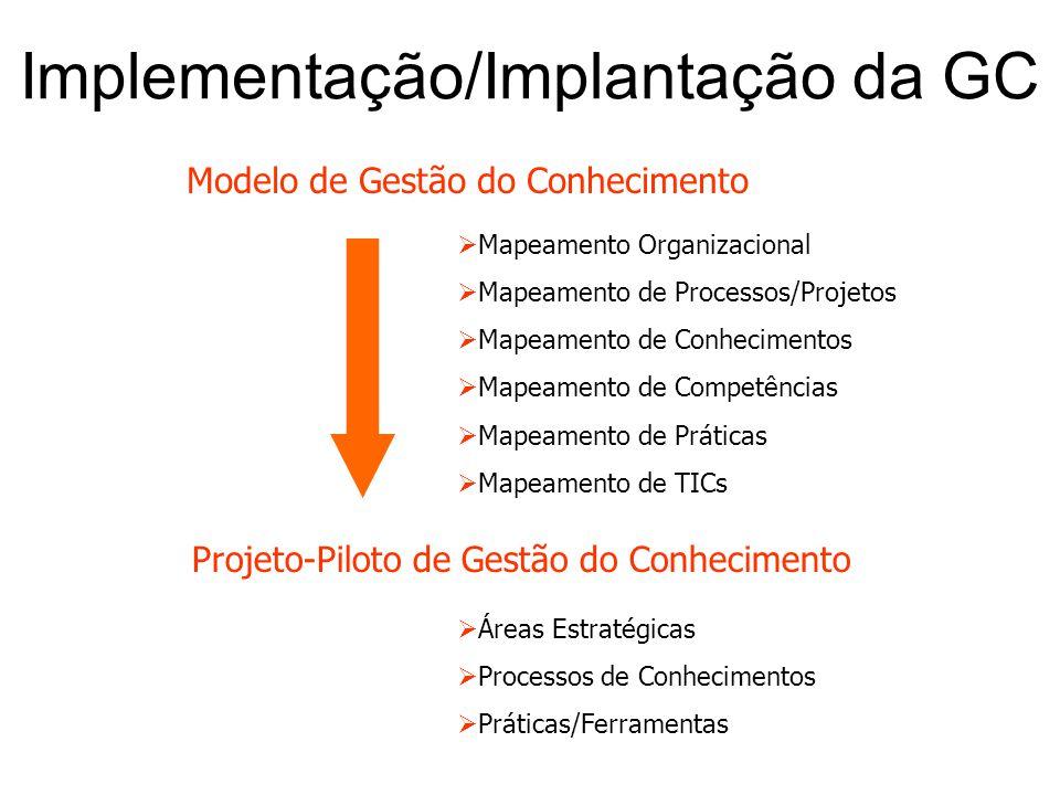 Projeto-Piloto de Gestão do Conhecimento  Mapeamento Organizacional  Mapeamento de Processos/Projetos  Mapeamento de Conhecimentos  Mapeamento de