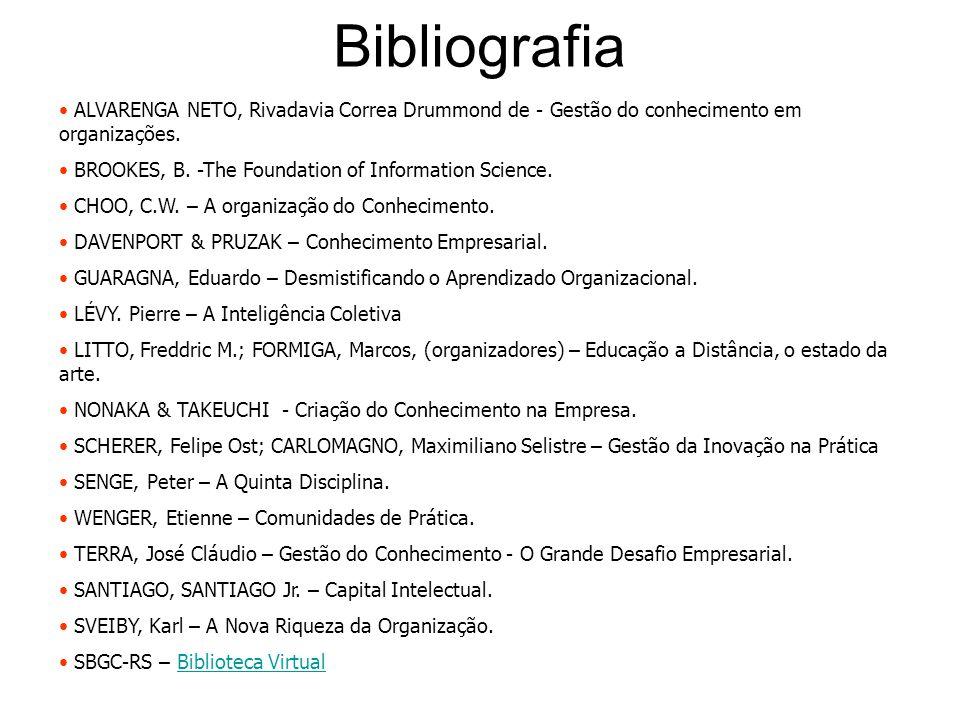 Bibliografia ALVARENGA NETO, Rivadavia Correa Drummond de - Gestão do conhecimento em organizações. BROOKES, B. -The Foundation of Information Science