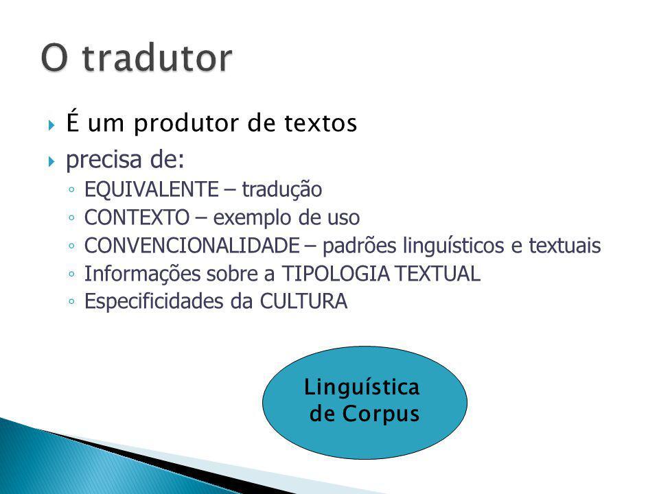  É um produtor de textos  precisa de: ◦ EQUIVALENTE – tradução ◦ CONTEXTO – exemplo de uso ◦ CONVENCIONALIDADE – padrões linguísticos e textuais ◦ I