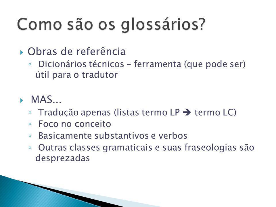  Obras de referência ◦ Dicionários técnicos – ferramenta (que pode ser) útil para o tradutor  MAS... ◦ Tradução apenas (listas termo LP  termo LC)