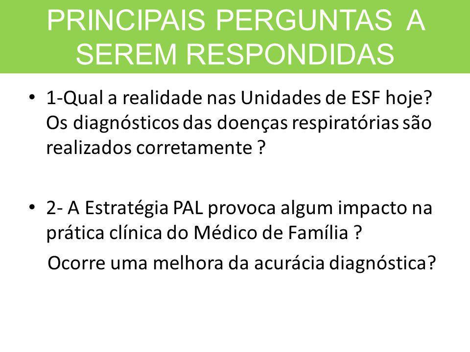 PRINCIPAIS PERGUNTAS A SEREM RESPONDIDAS 1-Qual a realidade nas Unidades de ESF hoje? Os diagnósticos das doenças respiratórias são realizados correta