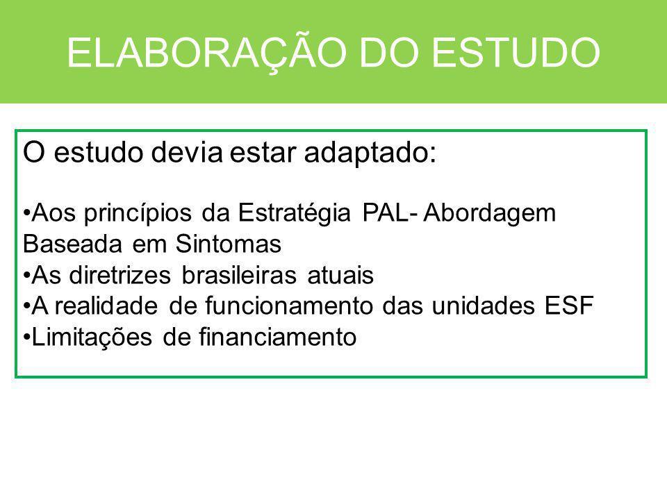 ELABORAÇÃO DO ESTUDO O estudo devia estar adaptado: Aos princípios da Estratégia PAL- Abordagem Baseada em Sintomas As diretrizes brasileiras atuais A