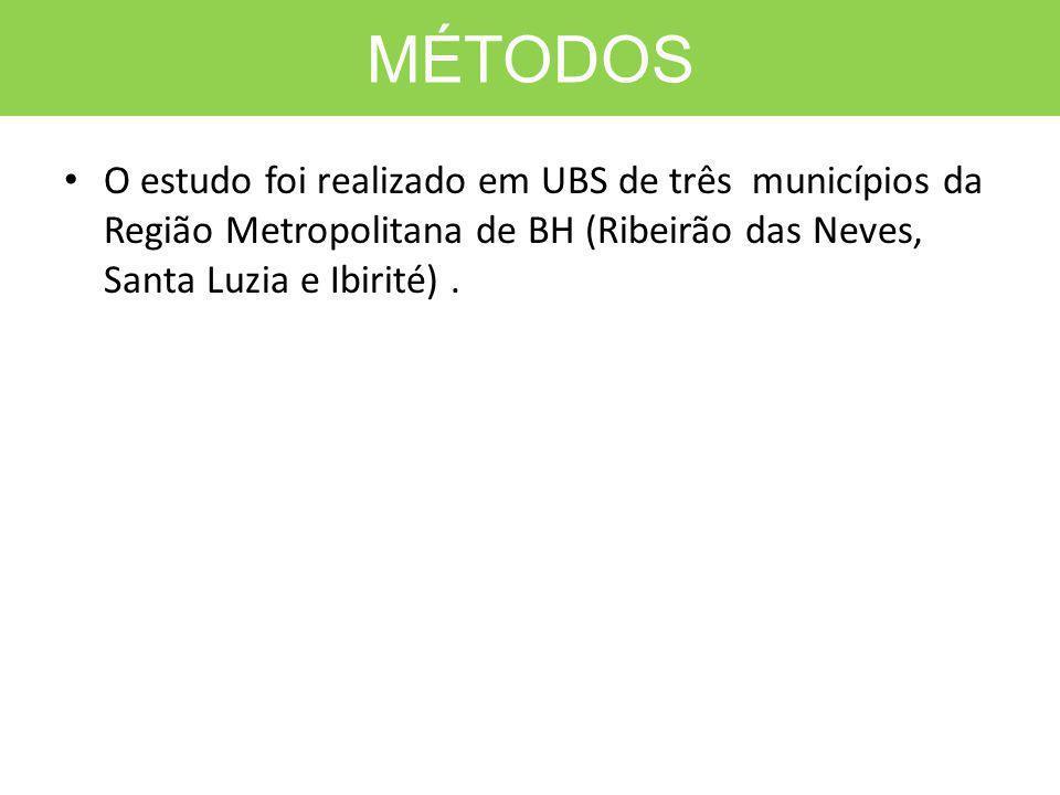 MÉTODOS O estudo foi realizado em UBS de três municípios da Região Metropolitana de BH (Ribeirão das Neves, Santa Luzia e Ibirité).