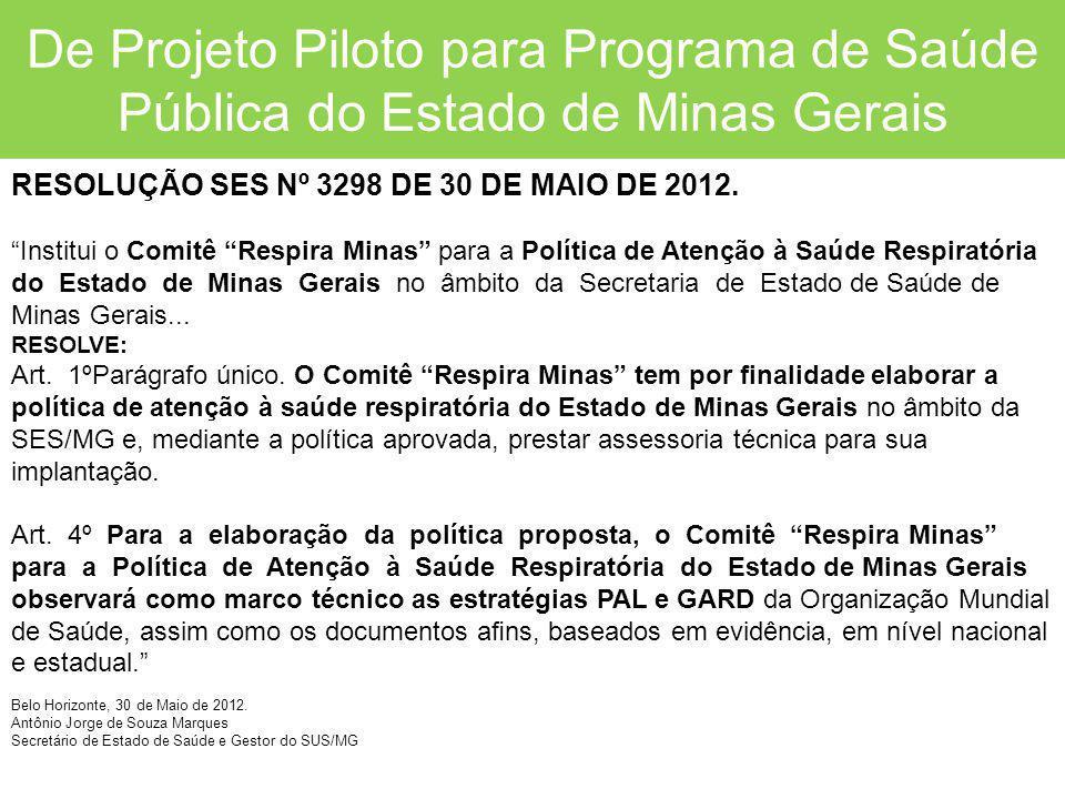 """De Projeto Piloto para Programa de Saúde Pública do Estado de Minas Gerais RESOLUÇÃO SES Nº 3298 DE 30 DE MAIO DE 2012. """"Institui o Comitê """"Respira Mi"""