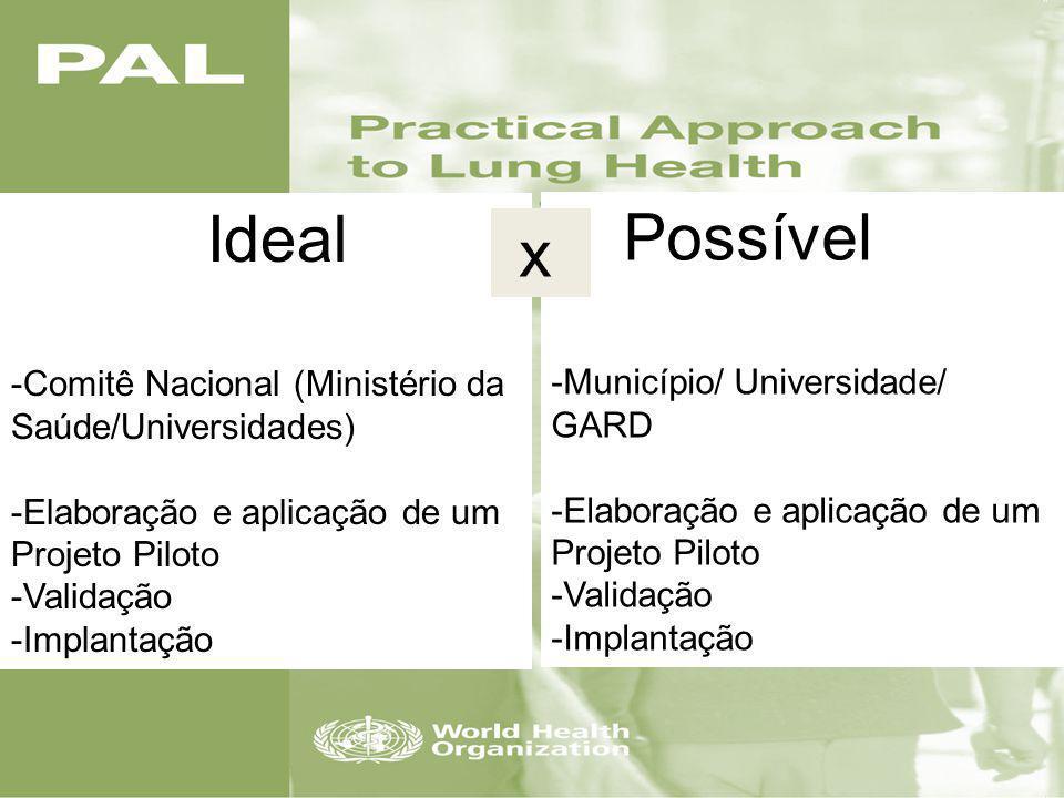 2008- Projeto Piloto para avaliar a Viabilidade da implantação da Estratégia PAL no Brasil O que nós queríamos? Adaptar e Estratégia Pal para as reali
