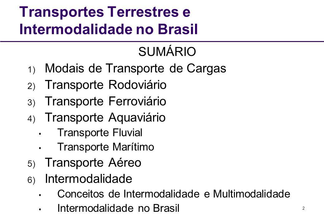 2 Transportes Terrestres e Intermodalidade no Brasil SUMÁRIO 1) Modais de Transporte de Cargas 2) Transporte Rodoviário 3) Transporte Ferroviário 4) T