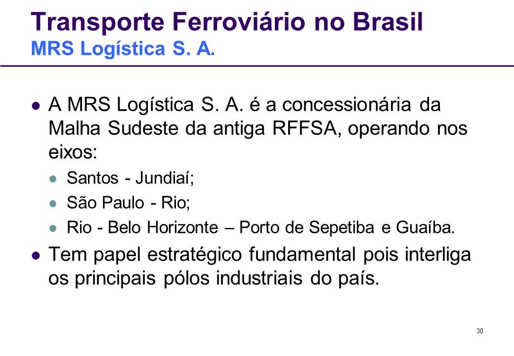 30 Transporte Ferroviário no Brasil MRS Logística S. A. A MRS Logística S. A. é a concessionária da Malha Sudeste da antiga RFFSA, operando nos eixos: