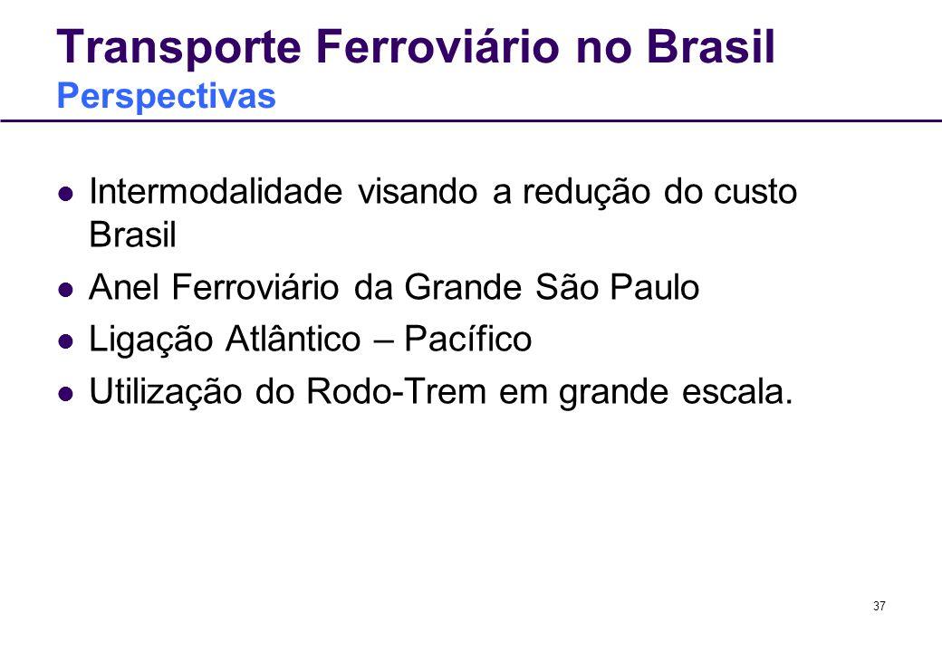 37 Transporte Ferroviário no Brasil Perspectivas Intermodalidade visando a redução do custo Brasil Anel Ferroviário da Grande São Paulo Ligação Atlânt
