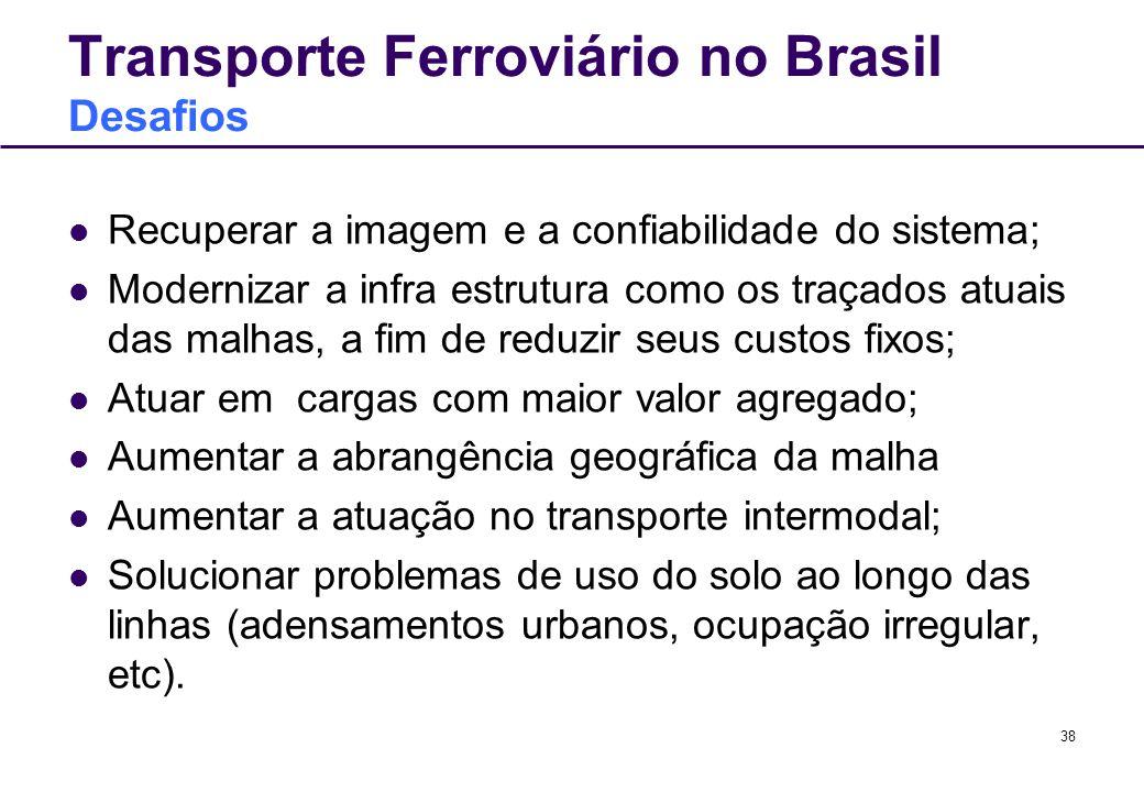 38 Transporte Ferroviário no Brasil Desafios Recuperar a imagem e a confiabilidade do sistema; Modernizar a infra estrutura como os traçados atuais da