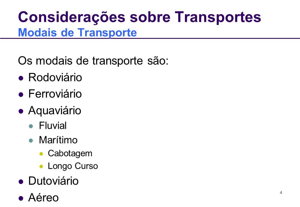 4 Considerações sobre Transportes Modais de Transporte Os modais de transporte são: Rodoviário Ferroviário Aquaviário Fluvial Marítimo Cabotagem Longo