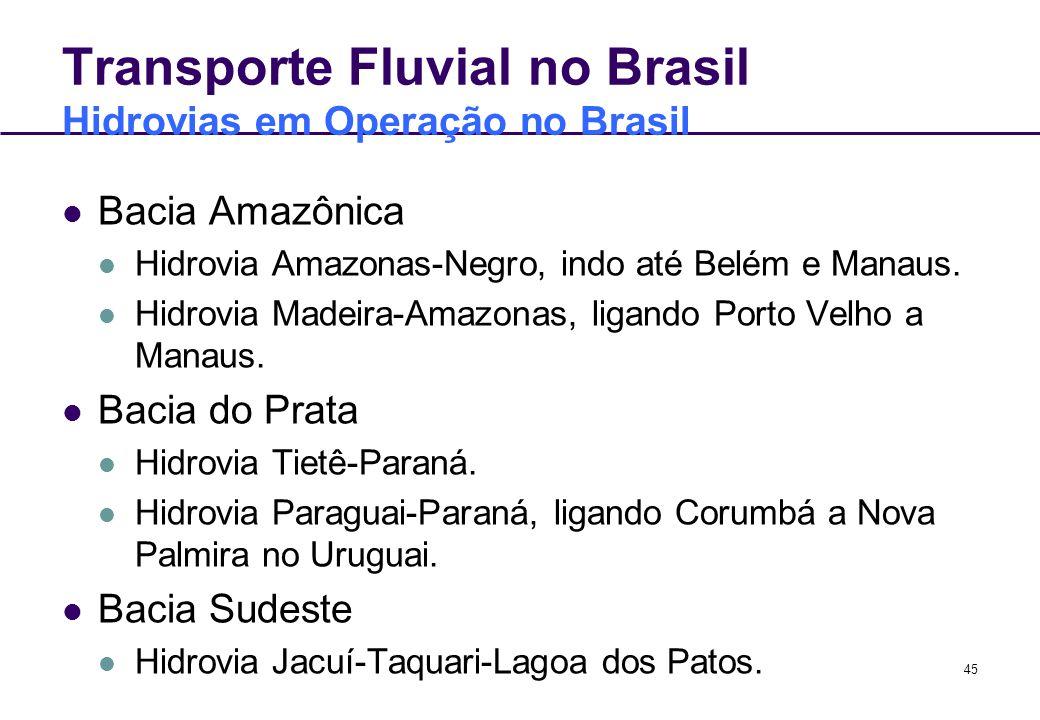 45 Transporte Fluvial no Brasil Hidrovias em Operação no Brasil Bacia Amazônica Hidrovia Amazonas-Negro, indo até Belém e Manaus. Hidrovia Madeira-Ama