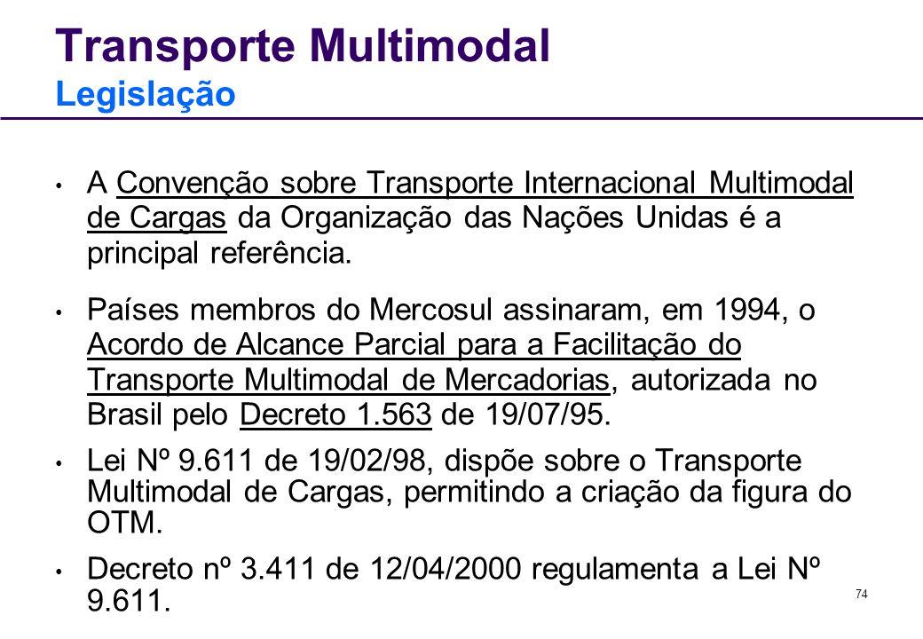 74 Transporte Multimodal Legislação A Convenção sobre Transporte Internacional Multimodal de Cargas da Organização das Nações Unidas é a principal ref
