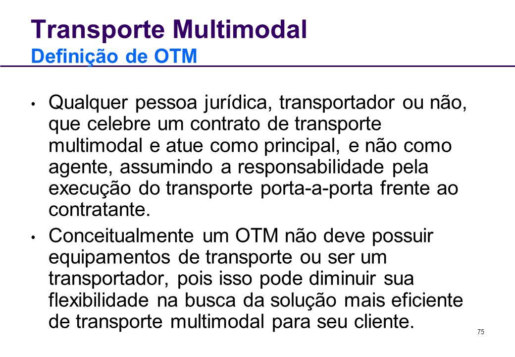 75 Qualquer pessoa jurídica, transportador ou não, que celebre um contrato de transporte multimodal e atue como principal, e não como agente, assumind
