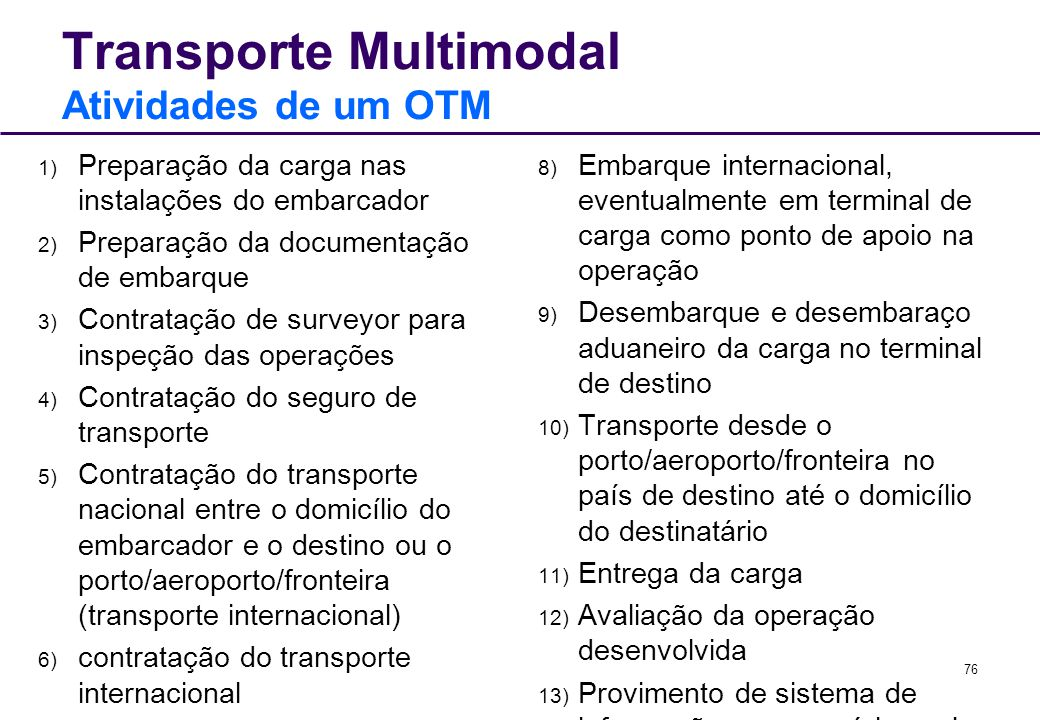 76 Transporte Multimodal Atividades de um OTM 1) Preparação da carga nas instalações do embarcador 2) Preparação da documentação de embarque 3) Contra
