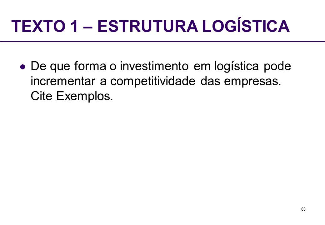 88 TEXTO 1 – ESTRUTURA LOGÍSTICA De que forma o investimento em logística pode incrementar a competitividade das empresas. Cite Exemplos.