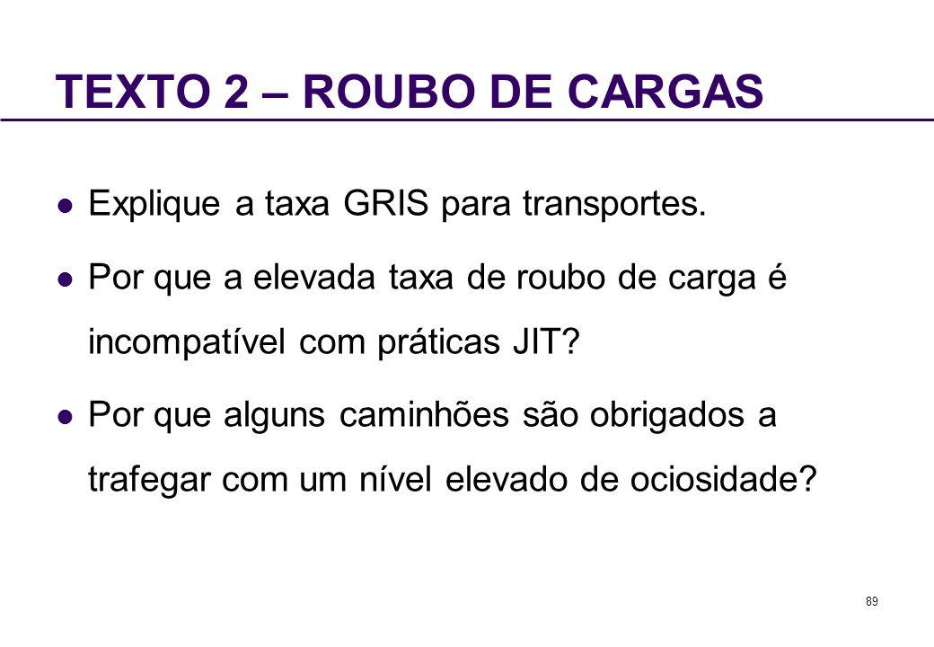 89 TEXTO 2 – ROUBO DE CARGAS Explique a taxa GRIS para transportes. Por que a elevada taxa de roubo de carga é incompatível com práticas JIT? Por que