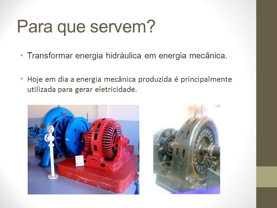 Usinas Hidrelétricas Forma mais comum da utilização de Turbinas Hidráulicas Utiliza quedas d água e grandes correntezas para a movimentação das turbinas Principal forma de geração de energia no Brasil Principais no país: o Usina Binacional de Itaipu - 14.000 MW o Usina Hidrelétrica de Tucuruí - 8.000 MW Usina Hidrelétrica de Tucuruí o Usina Hidrelétrica de Belo Monte (contrução) -11.000 MW Usina Hidrelétrica de Belo Monte o Usina Hidrelétrica São Luiz do Tapajós (projeto) - 8.000 MW Usina Hidrelétrica São Luiz do Tapajós