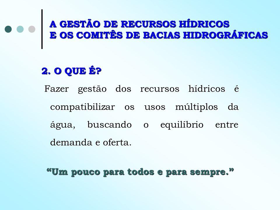 A GESTÃO DE RECURSOS HÍDRICOS E OS COMITÊS DE BACIAS HIDROGRÁFICAS 2. O QUE É? Fazer gestão dos recursos hídricos é compatibilizar os usos múltiplos d