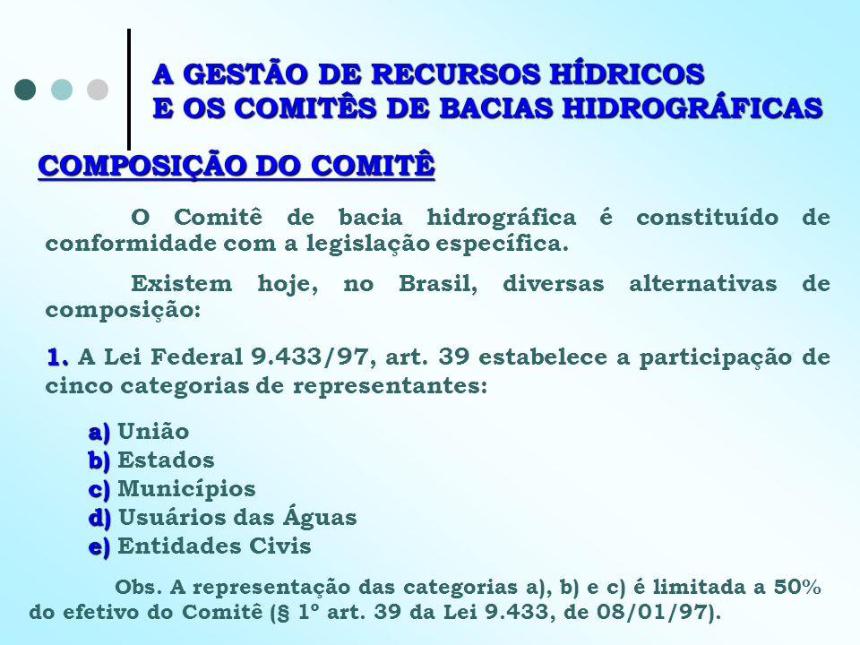 COMPOSIÇÃO DO COMITÊ O Comitê de bacia hidrográfica é constituído de conformidade com a legislação específica. Existem hoje, no Brasil, diversas alter