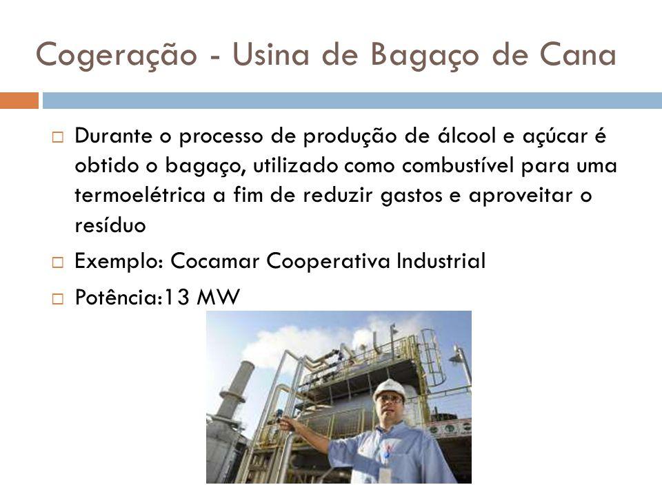 Cogeração - Usina de Bagaço de Cana  Durante o processo de produção de álcool e açúcar é obtido o bagaço, utilizado como combustível para uma termoel