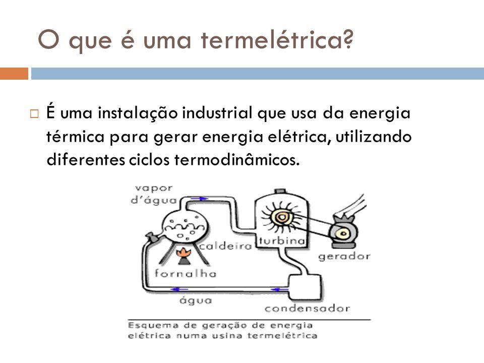 O que é uma termelétrica?  É uma instalação industrial que usa da energia térmica para gerar energia elétrica, utilizando diferentes ciclos termodinâ