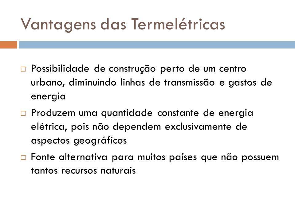 Vantagens das Termelétricas  Possibilidade de construção perto de um centro urbano, diminuindo linhas de transmissão e gastos de energia  Produzem u