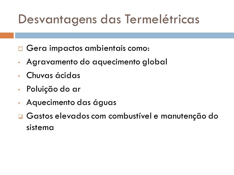 Desvantagens das Termelétricas  Gera impactos ambientais como: Agravamento do aquecimento global Chuvas ácidas Poluição do ar Aquecimento das águas 