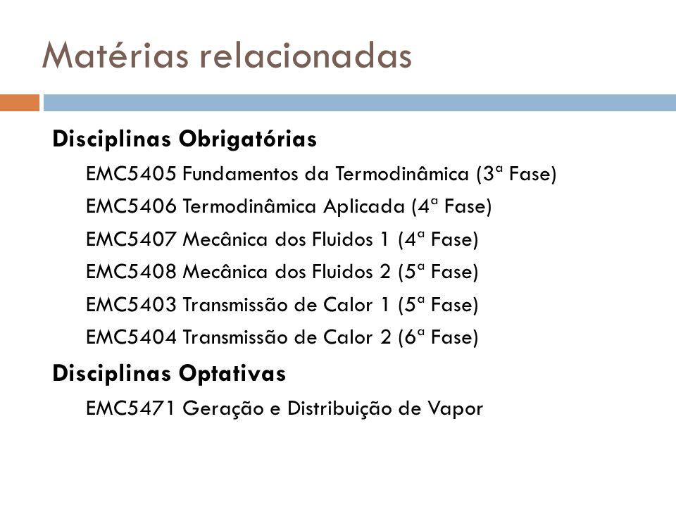 Matérias relacionadas Disciplinas Obrigatórias EMC5405 Fundamentos da Termodinâmica (3ª Fase) EMC5406 Termodinâmica Aplicada (4ª Fase) EMC5407 Mecânic