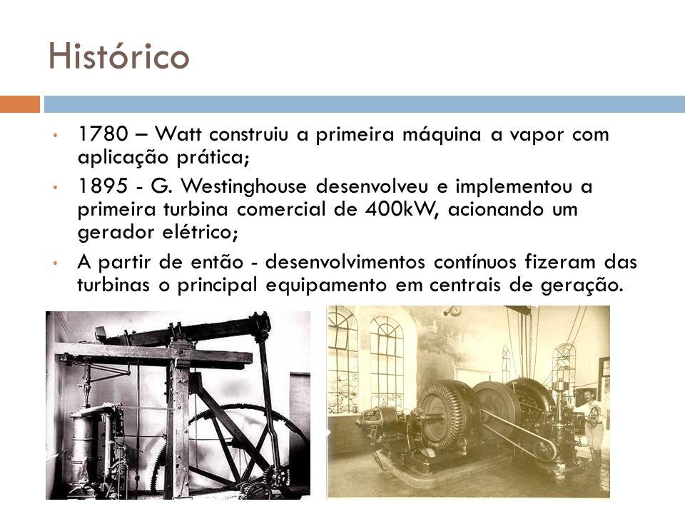 Histórico 1780 – Watt construiu a primeira máquina a vapor com aplicação prática; 1895 - G. Westinghouse desenvolveu e implementou a primeira turbina